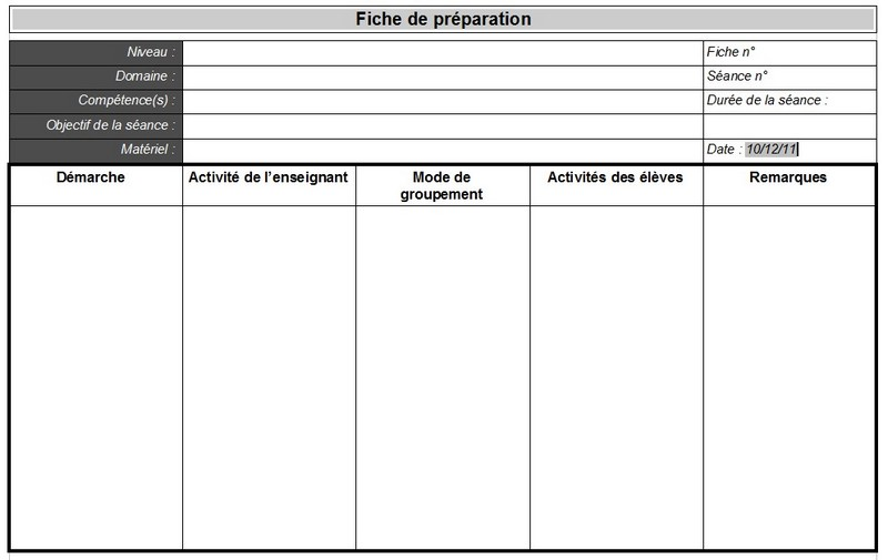 Fiche sequence formation
